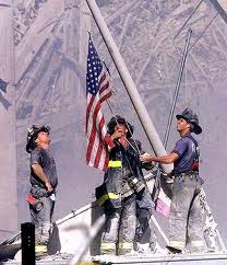 Fdny raise flag at wtc